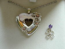 Clogau Silver & Welsh Gold Inner Charm Heart Locket with Amethyst Clover Charm