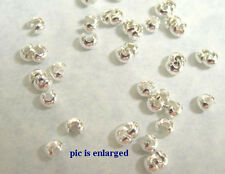 100 Silver Plated Crimp Tube Bead Covers 3MM