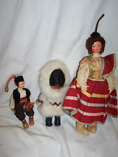 Vintage DOLLS assorted costumes Spanish Eskimo Russian - set of 3   (#5051)