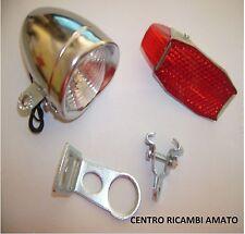KIT N° 2 Staffa Supporto Faro + Fanale Anteriore + Posteriore in Ferro Bici R