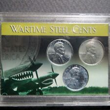 "*1943  LINCOLN WARTIME ""STEEL"" CENTS, 3-COIN P/D/S  Mint Set in Display Case #D"