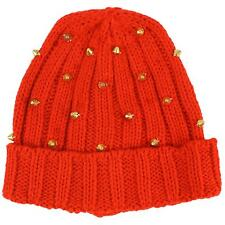 Girls Winter Warm Spiked Studs Soft Cuff Ribbed Knit Beanie Skull Hat Cap Red