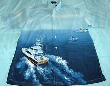 Vintage Nautica New York Fishing Boat Sailfish Blue Button Front Shirt Size S