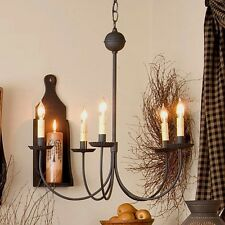 Large Five-Arm Primitive Metal Chandelier in Textured Black - Country Tinware