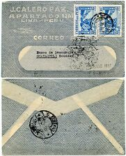 PERU to ECUADOR 1937 AIRMAIL FANCY ENVELOPE