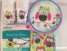 OWL Birthday Party Supply Set Pack Kit for 16 Baby Shower Cups Napkins 20 Plates