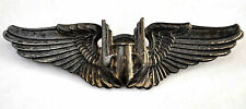 """WWII US Military Sterling Silver 3 1/16"""" Air Pilot Bomber Gunner Wings Pin"""