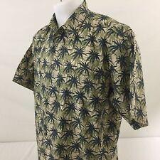 Cooke Street Honolulu Hawaiian Aloha Shirt Beige Palm Trees 100% Cotton Large