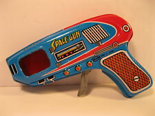 SPACE RAY GUN SHUDO 1970's TIN LITHO BLUE MINT JAPAN SPARKING WORKS VINTAGE