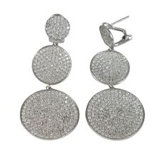 Sterling Silver Pave CZ Graduated Circle Womens Dangle Earrings