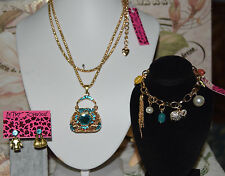 BETSEY JOHNSON 3 PC SET BLUE CRYSTALS HANDBAG MISMATCH EARRINGS & CHARM BRACELET
