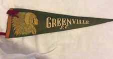 Greenville South Carolina Indian Head Souvenir Vintage Souvenir Pennant Flag