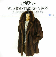 Women's VINTAGE Brown REAL MUSQUASH FUR Short Party DIVA Glam 70s Striped Coat M