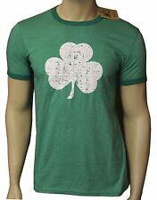2XL Screen Printed Shamrock T-shirt Ringer Distressed Green Irish Tee Vintage