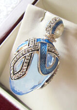 SALE ! GORGEOUS BLUE TOPAZ HANDMADE OF STERLING SILVER 925 RUSSIAN EGG PENDANT