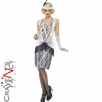 Ladies Flappers Charleston Gatsby Costume Silver 1920s Fancy Dress Outfit New
