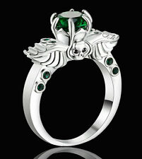 Woman's Size 9 Princess Cut Emerald white Rhodium Plated Ring For Wedding gift