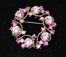 Vintage flower Style Brooches Silver /pink +rose+ab  high-qualityBouquet Yuri53