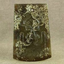 CHINESE OLD JADE GOD FACE TOTEM AXE PENDANT