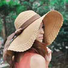 US Women Ladies Wide Brimmed Floppy Summer Beach Sun Hat Bowknot Straw Hats Cap