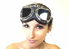 New Goggles Black Lens Crazy Stretch Cyber Steampunk Unisex Victorian Fantasy