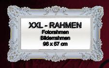 BILDERRAHMEN FOTORAHMEN BAROCKRAHMEN ROKOKO ANTIK 96x57 IN WEIß GOLD RAHMEN 70