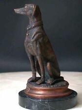 Bronze Dog Sculpture Signed Art Marble Base Greyhound