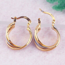 Earrings 9ct Gold Filled Gypsy 2 tone Hoop by 'H & D' Vintage Style Best Seller