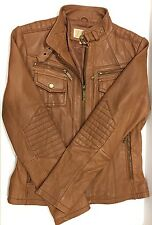 Michael Kors Women's Brown Leather Buckle-Collar Motorcycle Jacket Size M/US 6