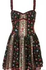 Kate Moss Topshop Liberty Floral Daisy Aztec Folk Skater Tea Sun Dress 6 2 34 XS