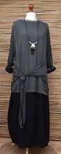 "LAGENLOOK AMAZING QUIRKY BOHO TUNIC ACID WASHED *CHARCOAL* BUST 46"" SIZE L-XL"