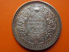 "George VI King Emperor One Rupee ""1943"" Bombay Mint Original Silver Coin"