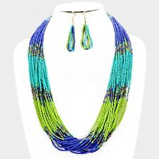 Multi Strand Multi Color Blue Green Glass Seed Bead Necklace Earring Set