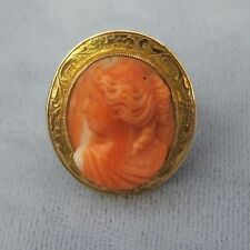ANTIQUE CARVED ANGEL SKIN CORAL CAMEO RING~14 KT GOLD SIZE 5.25 VICTORIAN WOMAN