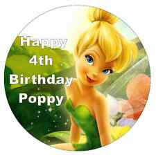 "Tinkerbell Personalised Cake Topper 7.5"" Edible Wafer Paper Birthday Party"