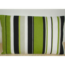 "20""x12"" Oblong Bolster Cushion Cover Kiwi Lime Green Black Grey White Stripes"