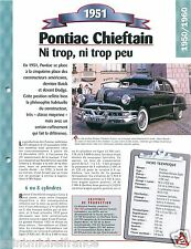 Pontiac Chieftain Berline Deluxe  8 Cyl. 1951 USA Car Auto Retro FICHE FRANCE