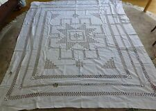 """VINTAGE TABLECLOTH HAND CRAFTED 78 X 96"""" NOT PERFECT (NP) WHITE LINEN/COTTON?"""
