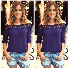 Kyrahh: Casual Off Shoulder Lace Crochet Patchwork Solid Chiffon Blouse Tops