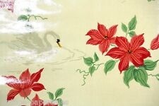 1940's Vintage Shiny Wallpaper Red Flowers and Swan