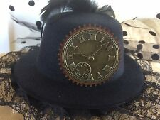 STEAMPUNK FASCINATOR MINI TOP HAT WITH BRASS CLOCK AND COG DESIGN