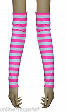 PINK WHITE STRIPE LYCRA ARM WARMERS GLOVES GAUNTLETS FINGERLESS CLUB DANCER W756