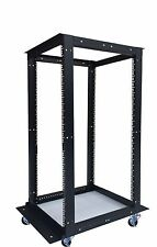 "18U 4 Post Open Frame 19"" Network Server Rack Adjustable Depth 24""-37"" on WHEELS"