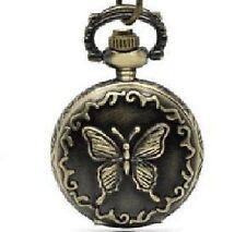 Farfalla Orologio Da Tasca Con Catenella Retrò Vintage Collana Donna