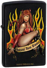 Sexy Redhead Lady in Flames1723 Black Matte Zippo Lighter