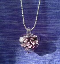 Glass heart purple necklace ball chain Murano VTG