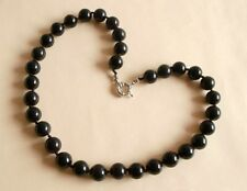 Vintage Style Black Onyx Gemstone 12mm Knotted Bead Necklace Gift Bag