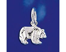 Sterling Silver Brown Black Bear Pendant California Grizzly Charm Solid 925 New