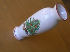 Vintage Shibata Fine Porcelain Japan Christmas Tree Scene Bud Vase Bone China