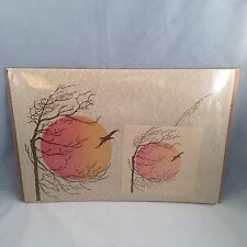 Vtg Paper Placemats Matching Napkins Sunset Hippie Tree 13 Boho Scalloped Edges